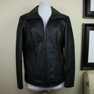 East 5th Black Leather Jacket Zip Up Collared